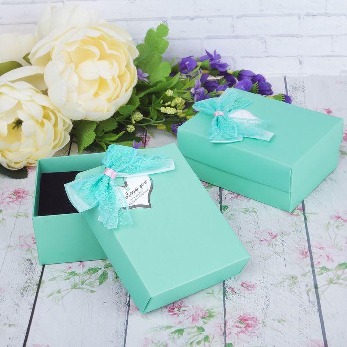 """Коробочка подарочная под набор """"Я тебя люблю"""" с бантом 8,5*11*5, цвет мятный"""