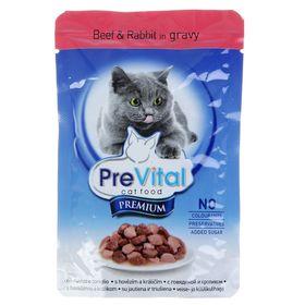 Влажный корм PreVital Premium для кошек в соусе, говядина/кролик, пауч, 100 г