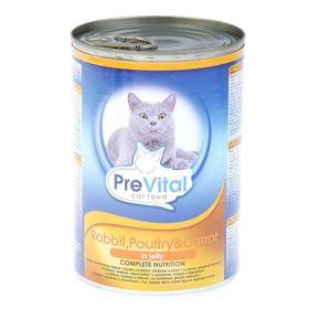 Влажный корм PreVital для кошек, кролик в желе, домашней птицей и морковью, ж/б 415 г