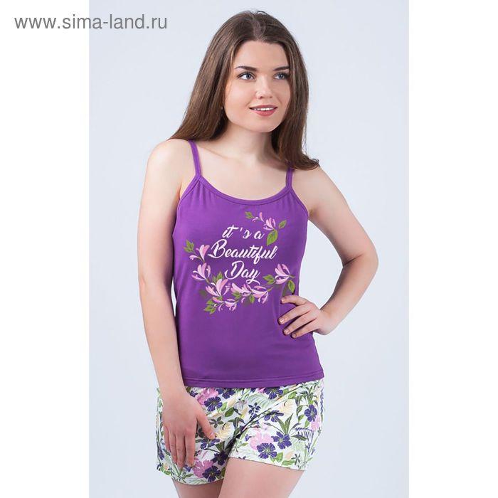 Комплект женский (майка, шорты) 8828 цвет фиолетовый, р-р 50
