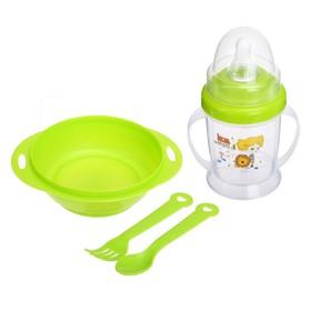 Набор детской посуды, 4 предмета: миска 200 мл, бутылочка для кормления 180 мл, ложка, вилка, цвета МИКС Ош
