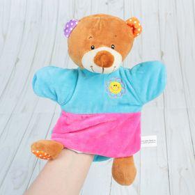 """Игрушка на руку """"Медвежонок"""" с цветочком на груди"""