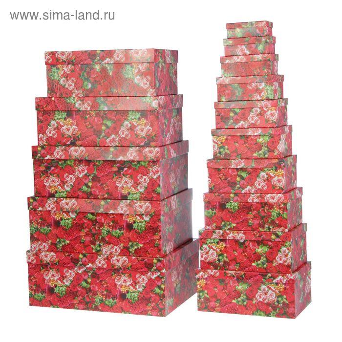 """Набор коробок 15в1 """"Красные цветы"""" 46,6 х 33 х 18 - 12 х 6,5 х 4 см"""