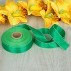 Лента атласная, двусторонняя, 25мм, 25±1м, цвет зелёный