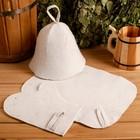 Набор для сауны (колпак, рукавица, коврик), светлый, эконом