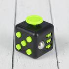 Кубик-антистресс, зелёные кнопки, цвет чёрный