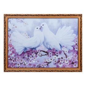 Картина 'Голуби с сакурой'  50х70 см, рамка МДФ МИКС Ош