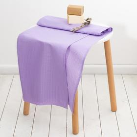 Полотенце вафельное банное 80х150 см, цвет Сиреневый 100%хл, 230 гр/м2