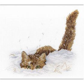 """Набор для вышивания """"Кот в снегу"""", канва, нитки 13 цветов, игла, схема, инструкция"""