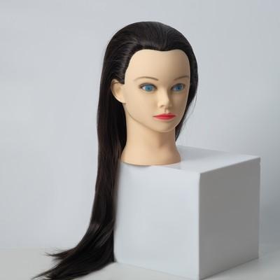 """Манекен """"Голова женская"""" с макияжем, чёрные волосы, 20*23*28"""