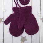 Варежки детские на верёвочке, размер 14, цвет фиолетовый