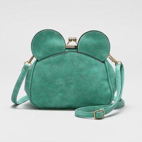 """Сумка женская на фермуаре """"Ушки """", 1 отдел, наружный карман, регулируемый ремень, цвет зелёный"""