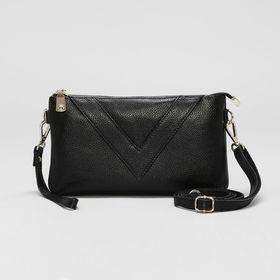 Клатч женский на молнии, 1 отдел с перегородкой, ручка, наружный карман, длинный ремень, цвет чёрный