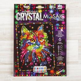 """Набор для создания мозаики """"Кот"""" CRYSTAL MOSAIC, на тёмном фоне"""
