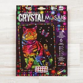 """Набор для создания мозаики """"Кот и бабочка"""" CRYSTAL MOSAIC, на тёмном фоне"""