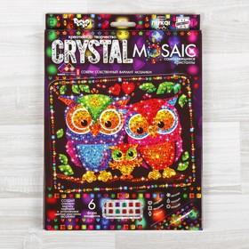 """Набор для создания мозаики """"Совушки"""" CRYSTAL MOSAIC, на тёмном фоне"""