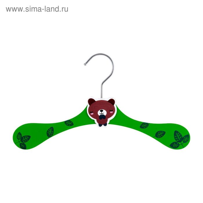 """Вешалка детская деревянная """"Медвежонок"""", светло-зеленая"""