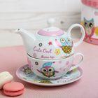 """Набор чайный 3 предмета """"Веселая сова"""": чайник 330 мл, чашка 260 мл, блюдце 15 см, цвет голубой"""