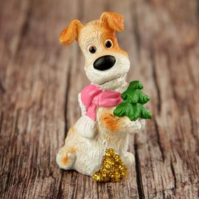 "Сувенир полистоун ""Пёсик Макс в ярком шарфике с подарками"" МИКС 7,2х4,6х3,7 см"