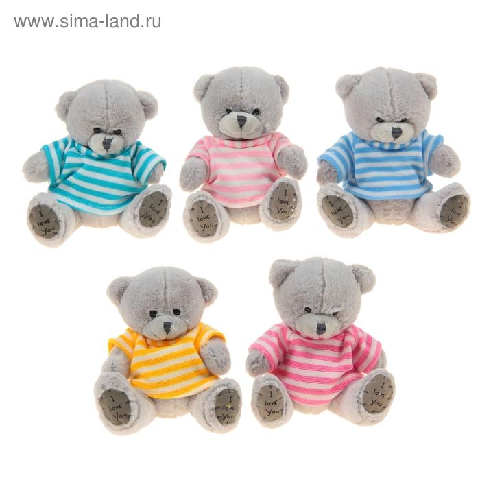 """Мягкая игрушка """"Медведь нежный серый, в футболке"""", цвета МИКС"""