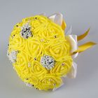 Букет-дублёр для невесты «Французское кружево» из силиконовых роз, жёлтый