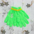 """Перчатки детские """"Блеск"""", размер 16, цвет зелёный, аппликация МИКС"""