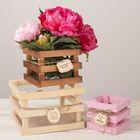 Набор ящиков деревянных для цветов «Летай от счастья»,3 шт,10 х 10 х 9 см, 15 х 15 х 11 см, 20 х 20 х 13 см