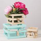 """Набор ящиков деревянных для цветов «С пожеланием счастья"""", 3 шт, 10х10х9см, 15х15х11см, 20х20х13см."""