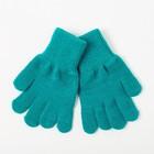 Перчатки одинарные для девочки, размер 14, цвет бирюзовый 6с177