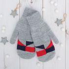 """Варежки двойные для мальчика """"Арлекин"""", размер 14, цвет серый меланж/синий/красный 2с229"""