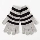 """Перчатки одинарные для мальчика """"Полоска"""", размер 17, цвет серый меланж/чёрный 6с177"""