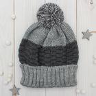 Шапка одинарная для мальчика, размер 50-52, цвет серый меланж/чёрный/пумпон меланж кс115