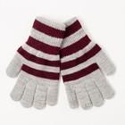 Перчатки одинарные для мальчика, размер 14, цвет серый меланж/бордовый 6с177