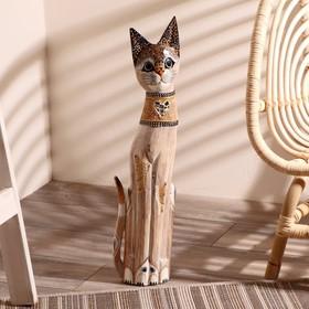 """Сувенир дерево """"Кошка с золотыми бабочками и зеркальным сердцем"""" 60х12х6 см"""