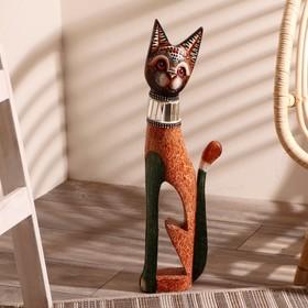 """Сувенир дерево """"Кошка в зеркальном ошейнике"""" 60х12х6 см"""