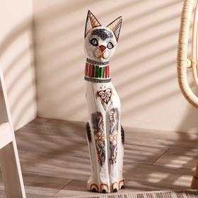 """Сувенир дерево """"Кошка с ошейником из страз и ромбиком"""" 60х12х6 см"""
