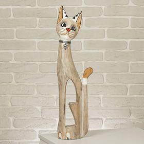 """Сувенир дерево """"Кошка в ошейнике из страз с ящеркой"""" 60х12х6 см"""