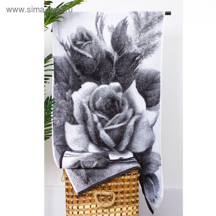 """Полотенце махровое """"Этель"""" ЧБ Розы 50*90 см, 100% хл, 420 гр/м2"""