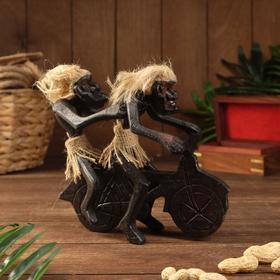 "Сувенир дерево ""Аборигены парочка на мотоцикле"" 20х20х10 см"
