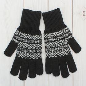 Перчатки одинарные мужские 'Аскет 1', размер 20, цвет чёрный/белый 2с230 Ош