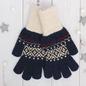 Перчатки одинарные мужские 'Аскет 2', размер 20, цвет тёмно-синий/бежевый 2с230 Ош