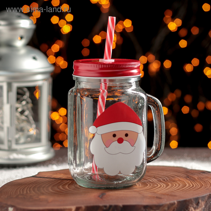 """Банка 450 мл """"Дед Мороз"""", с ручкой, крышкой и трубочкой"""