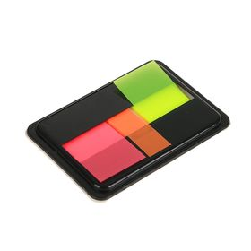 Блок-закладки с липким краем пластик 20л*3шт 45мм*20мм 3цв флюор в диспенсере МИКС Ош