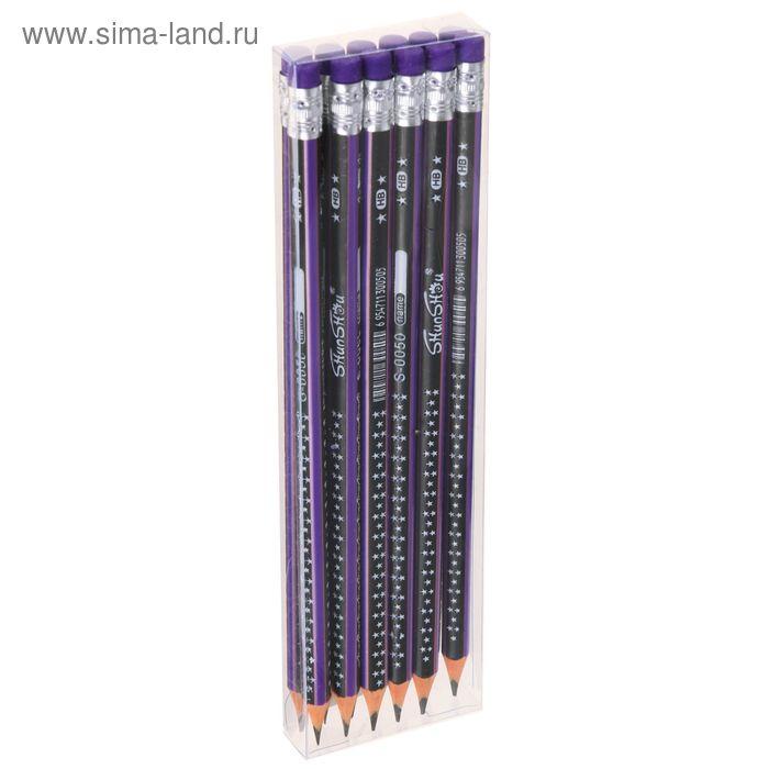 Карандаш ч/г с ластиком НВ корпус треугольный заточенный Звезды фиолетовый с черным