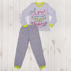 Пижама для девочки, рост 134 см, цвет светло-серый меланж/зелёный 9118