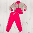 Костюм спортивный для девочки, рост 98 см, цвет серый меланж/малиновый 1116