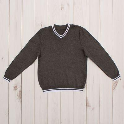 Джемпер для мальчика, рост 146 см, цвет тёмно-серый 645