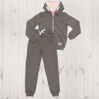 Костюм спортивный для девочки, рост 146 см, цвет тёмно-серый меланж 1119