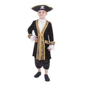 """Карнавальный костюм """"Капитан пиратов"""", шляпа, камзол, манишка, манжеты, штаны, р-р 28, рост 98-104 см"""