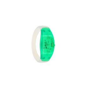 Браслет-стробоскоп реагирует на звук, 3 LED, батарейки в комплекте (2 x CR 1625), ЗЕЛЁНЫЙ Ош